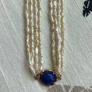 VTG 14k 585 Gold Lapis Rice Pearl Choker Necklace